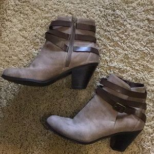 Tan/brown booties with buckle.